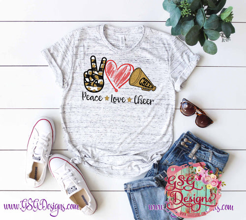 Peace Love Cheer Screen Print Transfers RTS