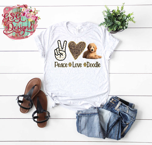Peace Love Doodle Golden Doodle High Heat Screen Print Transfers RTS