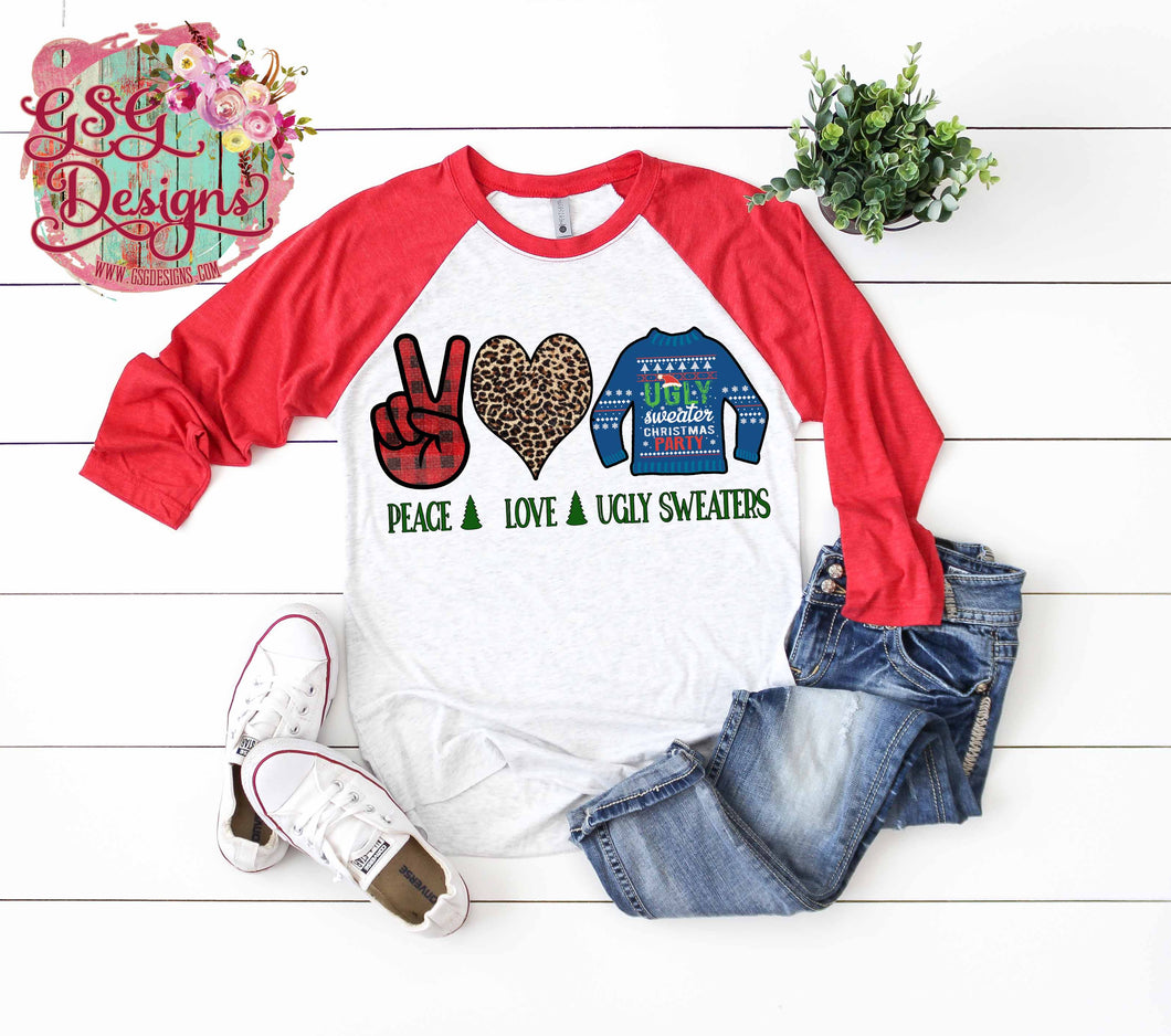 Peace Love Ugly Sweaters Christmas Sublimation Transfers