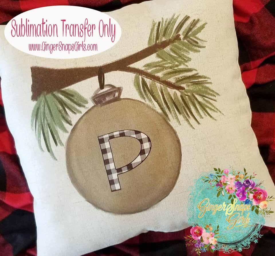 Personalized Pine Tree Branch with Monogram Ornament Sublimation Transfers
