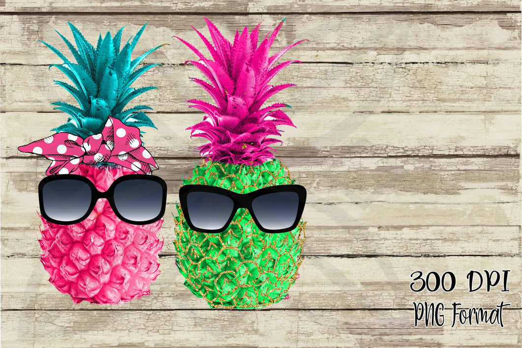Summer Pineapples in Sunglasses Clip art and Elements Digital Design Files Bundle Set