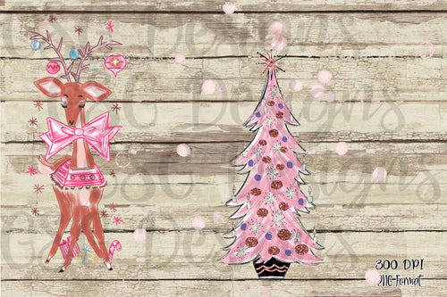 Pink Vintage Christmas Clip Art Set Christmas Tree and Reindeer digital design files .png