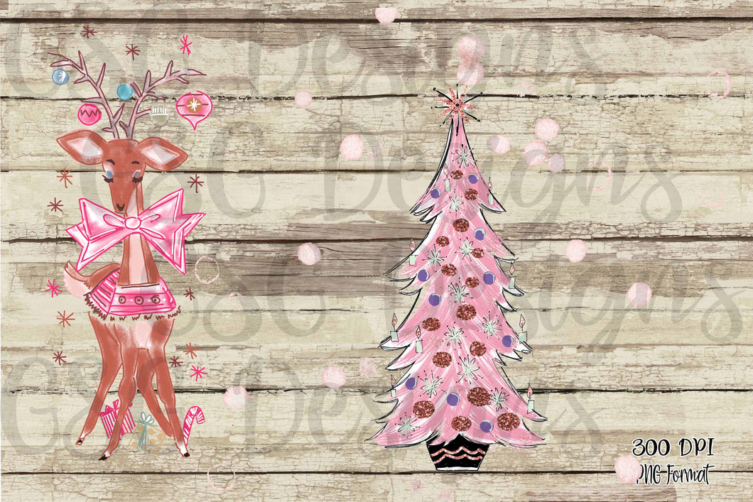 Pink Vintage Christmas Clip Art Set Christmas Tree And Reindeer Digita Gsg Designs