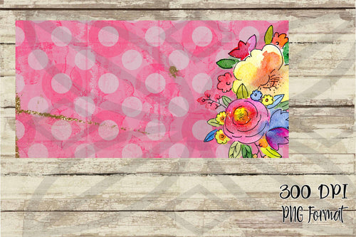 Pink Polka Dots with Watercolor Flowers License Plate Digital Design File PNG