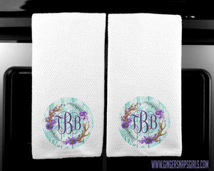 Monogram Purple & Turquoise Antler Floral Sublimation Transfers