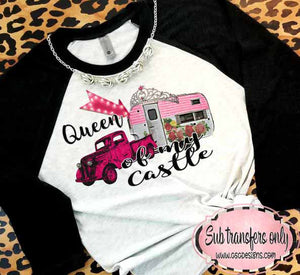 Queen of My Castle Antique Truck and Camper vintage style Sublimation Transfers