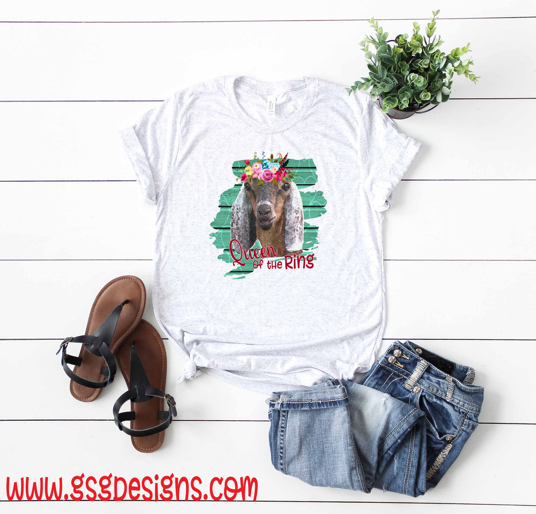 Queen of the Ring Goat with Flowers Sublimation Transfers