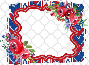 Floral Frame red, white, & blue Sublimation Transfers