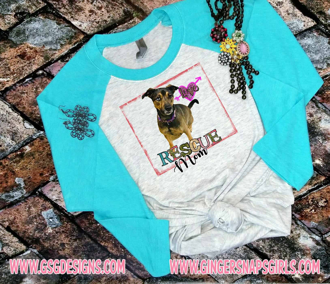 Rescue Mom, Watercolor Funky Rescue Puppy Dog Sublimation Transfers