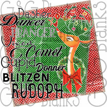 Load image into Gallery viewer, Rudolph Dasher Dancer Prancer Vixen Comet Cupid Donner Blitzen Reindeer Christmas vintage style Sublimation Transfers