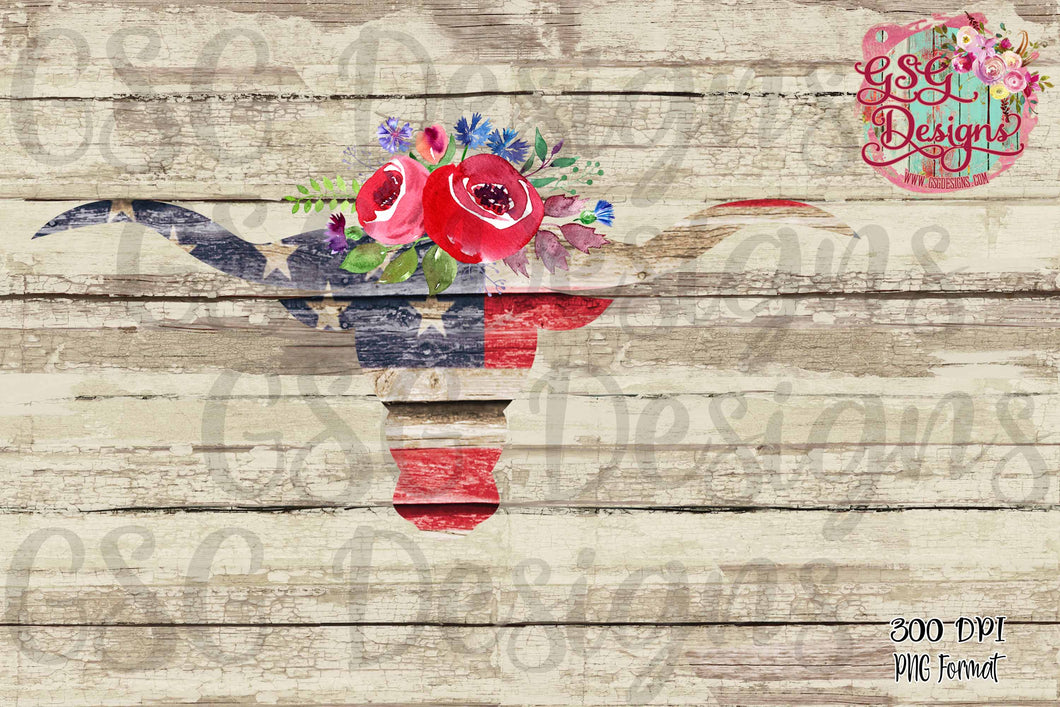 Red White and Blue BullSkull Sublimation Transfers