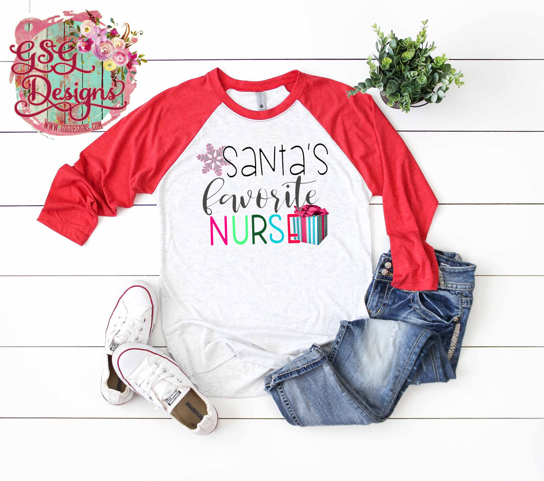 Santa's Favorite Nurse Bright Christmas Sublimation Transfers
