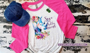 Save the Chubby Unicorns Watercolor Floral Digital Sublimation Design File
