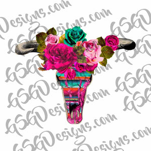 Floral and Serape Bright Boho Bull Skull Sublimation Transfers