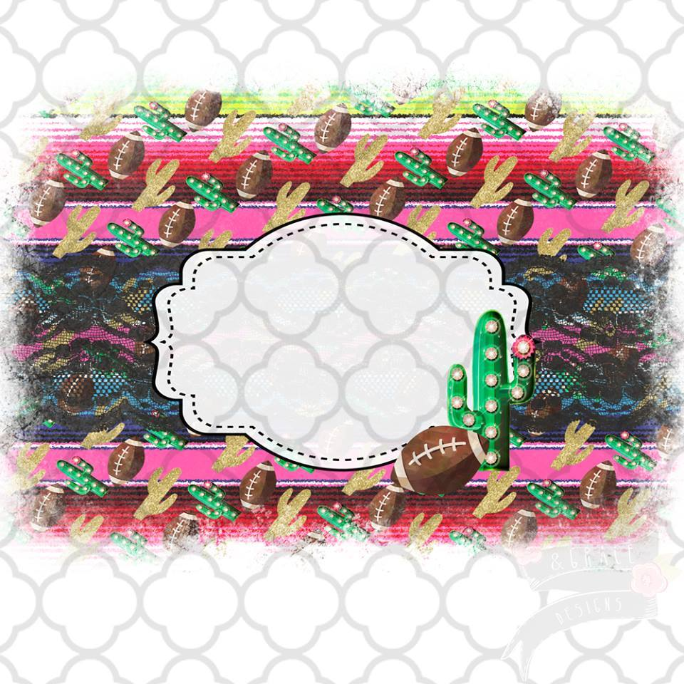 Serape Football Frame vintage style Sublimation Transfers
