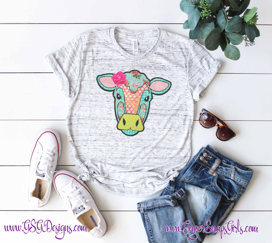 Shabby Chic Cow Floral Sublimation Transfers