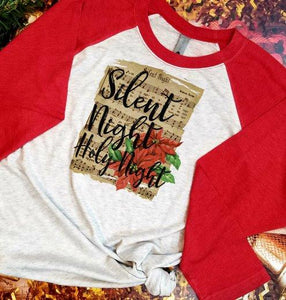 Silent Night Christmas Poinsettia Sublimation Transfers