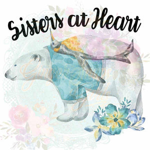 Sisters at Heart Polar Bear and Penguin Watercolor Sublimation Transfers