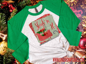 Sleigh In It Red and Green Sled Funny Christmas vintage style Sublimation Transfers