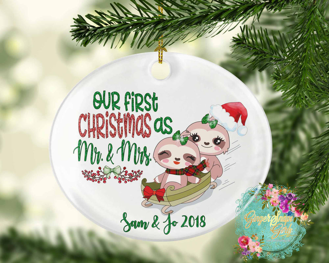 Sloth First Christmas as Mr and Mrs Custom 2018 Design Christmas Ornament Digital Design File