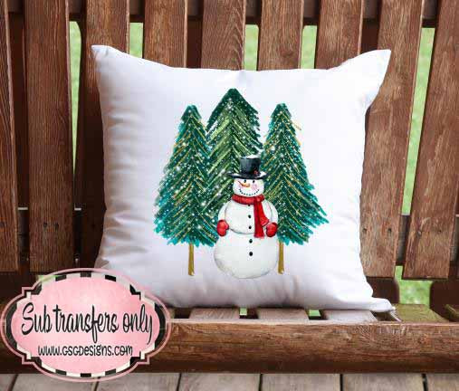 Snowman with Pine Trees Sublimation Transfers