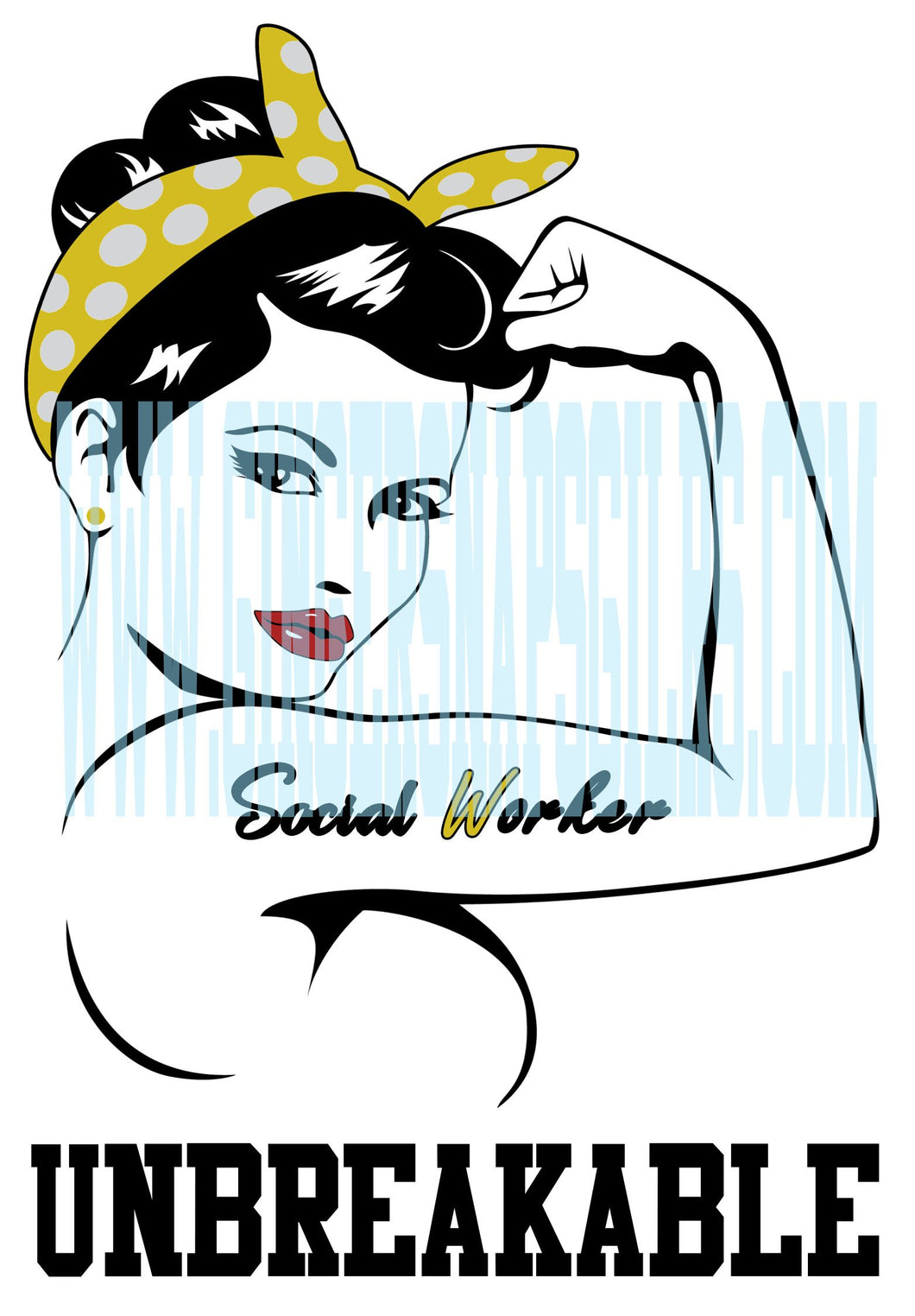 Social Worker Strong Girl Sublimation Transfers