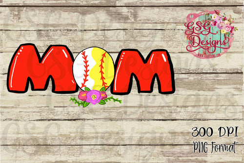 Baseball and Softball Mom Hand Drawn Digital Design File PNG
