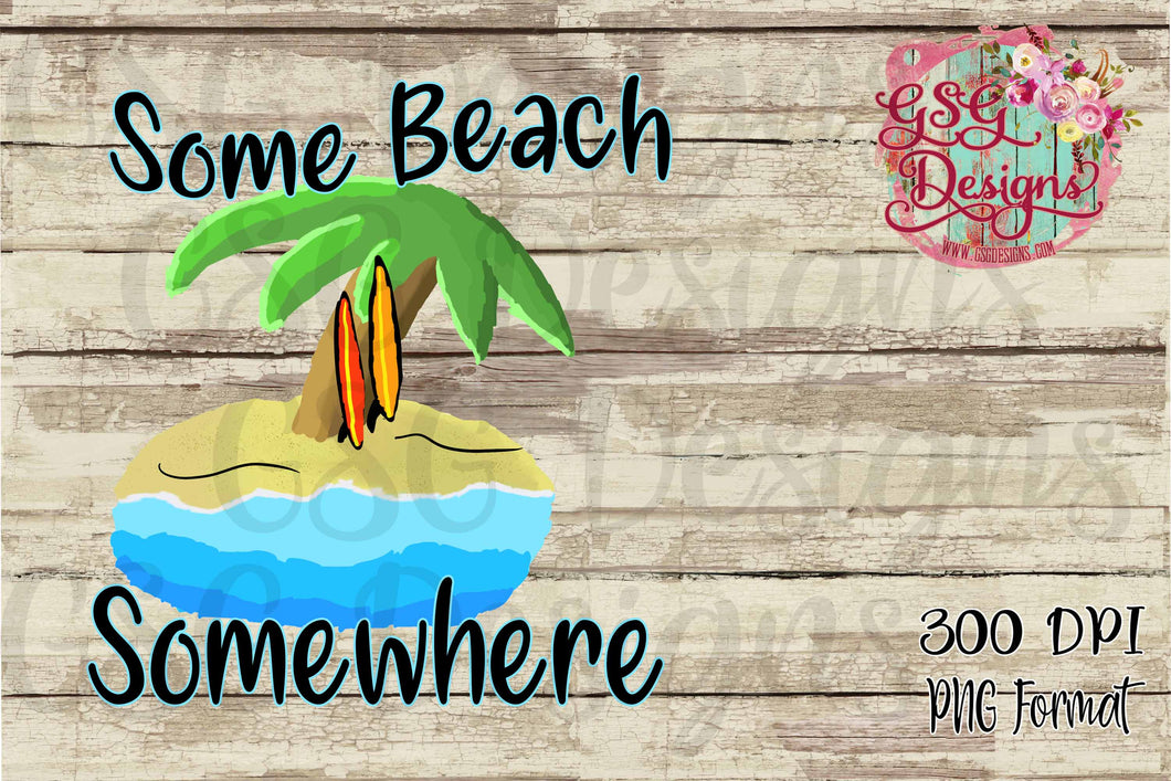 Some Beach Somewhere Palm Tree Beach Digital Design File PNG