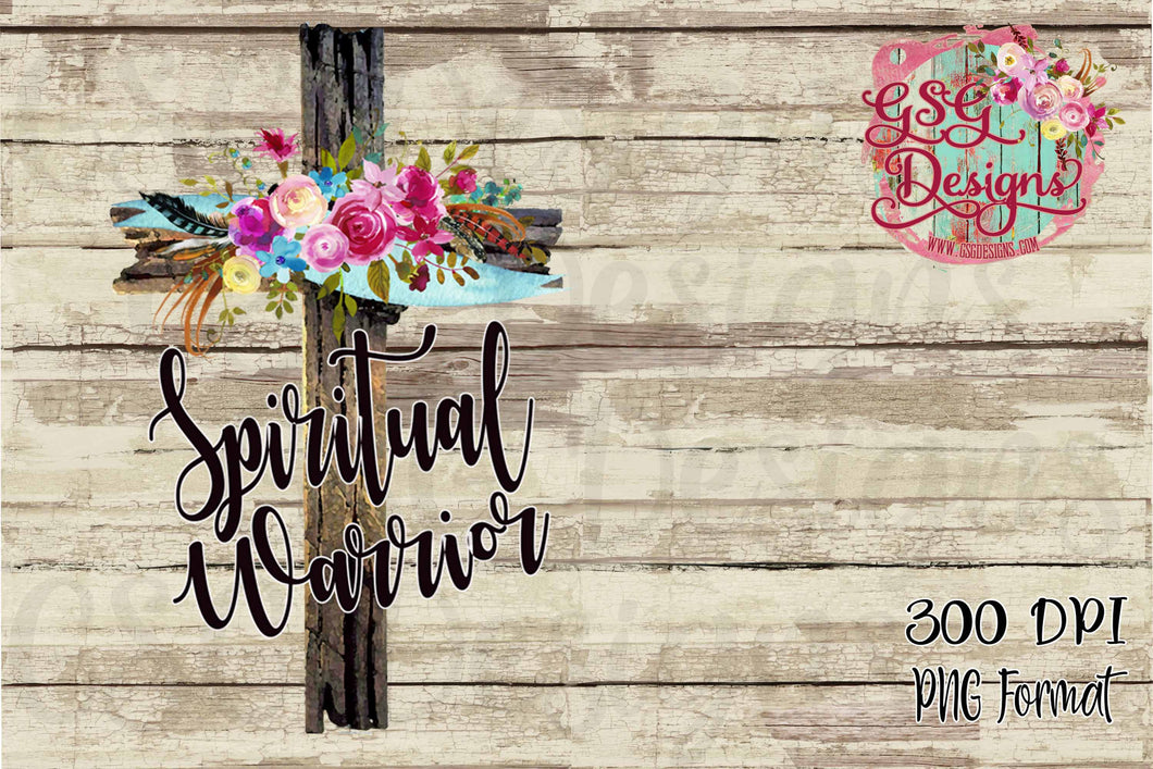 Spiritual Warrior Rugged Cross with Floral Watercolor Sublimation Transfers