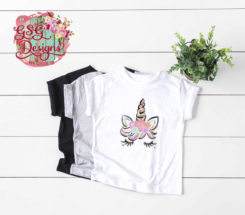 Custom Spring Unicorn Personalized Floral Glitter & Watercolor Sublimation Transfers