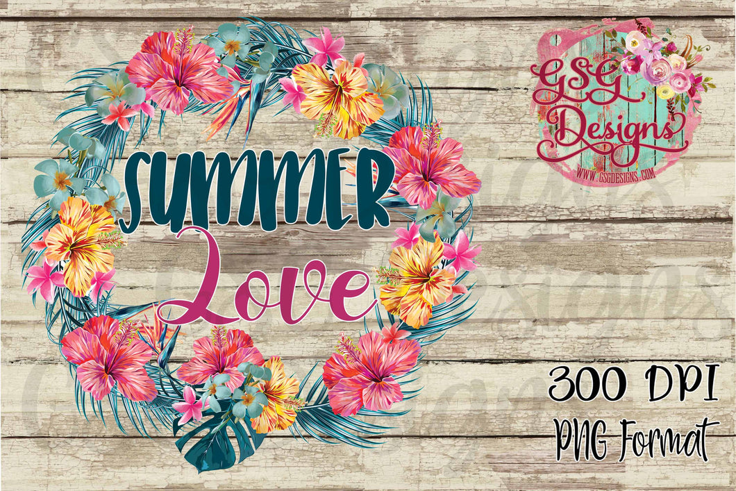 Summer Love Tropical Summer Floral Wreath Digital Design File PNG