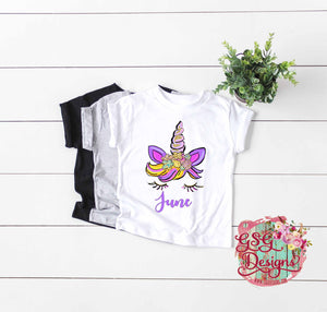 Summer Custom Unicorns Face Watercolor Floral Glitter Digital Sublimation Digital Design File PNG