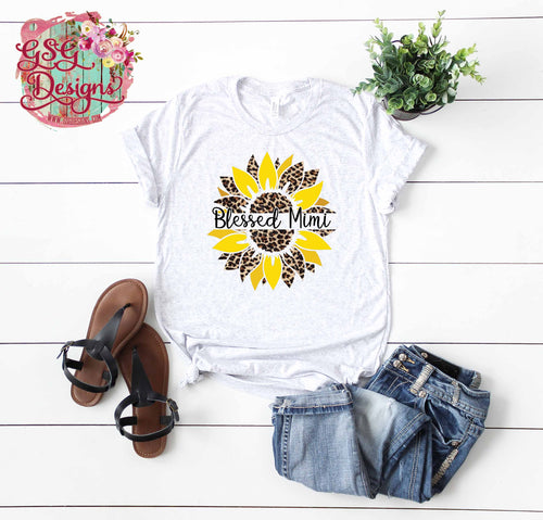 Leopard Sunflower with Space for Custom Name Mom, Grandma, Mimi Screen Print Transfers RTS