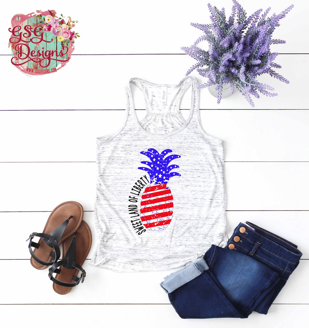 Sweet Land of Liberty Red White and Blue Pineapple Sublimation Transfers