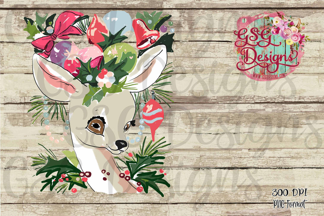 Sweet Reindeer Vintage Christmas and Winter Sublimation Transfers