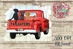 Tailgaters Black Lab Chocolate Lab and Golden Retriever in Vintage Truck Sublimation Transfers