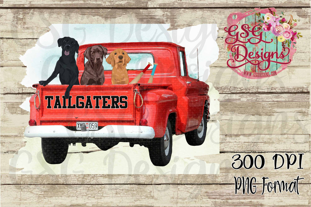 Tailgaters Black Lab Chocolate Lab and Golden Retriever in Vintage Truck Digital Design File PNG