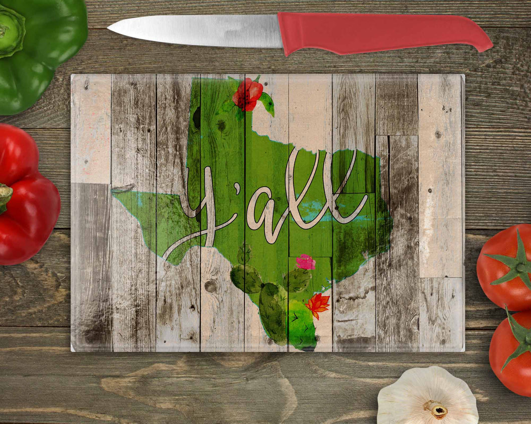 Texas Y'all Wood and Cacti Cutting Board Digital Sublimation Design File