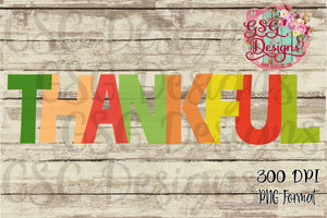 Thankful Transparent Style Digital Design File PNG