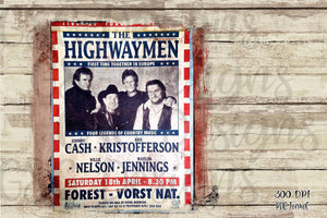 The Highwaymen distressed vintage poster Sublimation Transfers