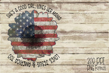 Load image into Gallery viewer, Patriotic Sunflower She's A Good Girl Digital Design File PNG