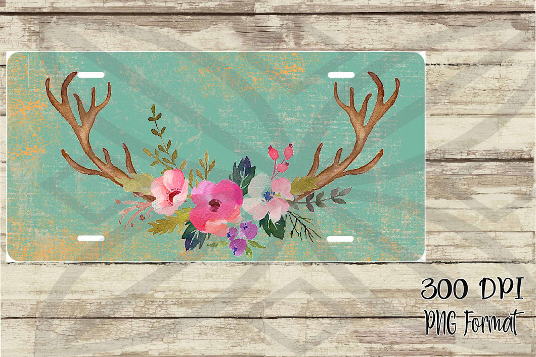 Vintage Blue Floral Antlers License Plate Digital Design File PNG