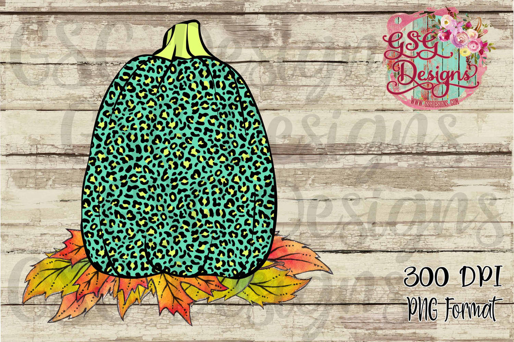 Turquoise Leopard Pumpkin Digital Design File .png