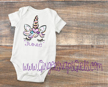 Load image into Gallery viewer, Unicorn Face Big Sister, Little Sister, & Baby Sister Digital Design Set, Glitter Unicorn face Digital File, Sublimation Design