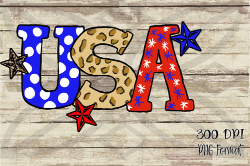 USA Hand Drawn Doodle Letters with Stars Red, White & Blue Digital Design File PNG