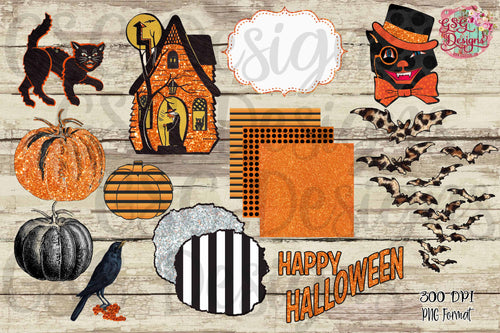 Vintage Halloween Clip Art Set digital design files .png