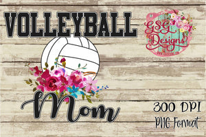 Volleyball Mom Watercolor Floral Sublimation Transfers