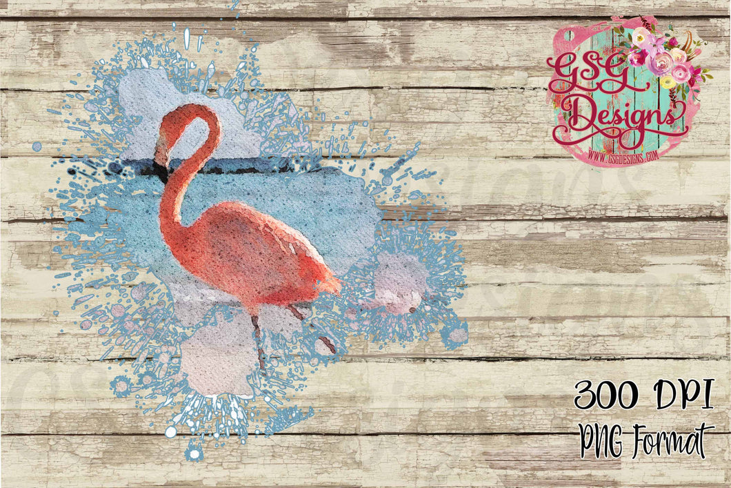 Flamingo Splash Watercolor Digital Design File PNG