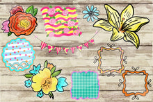 Load image into Gallery viewer, Watercolor and Ink Flowers Hand Drawn Doodle Digital Design File Clip Art Set