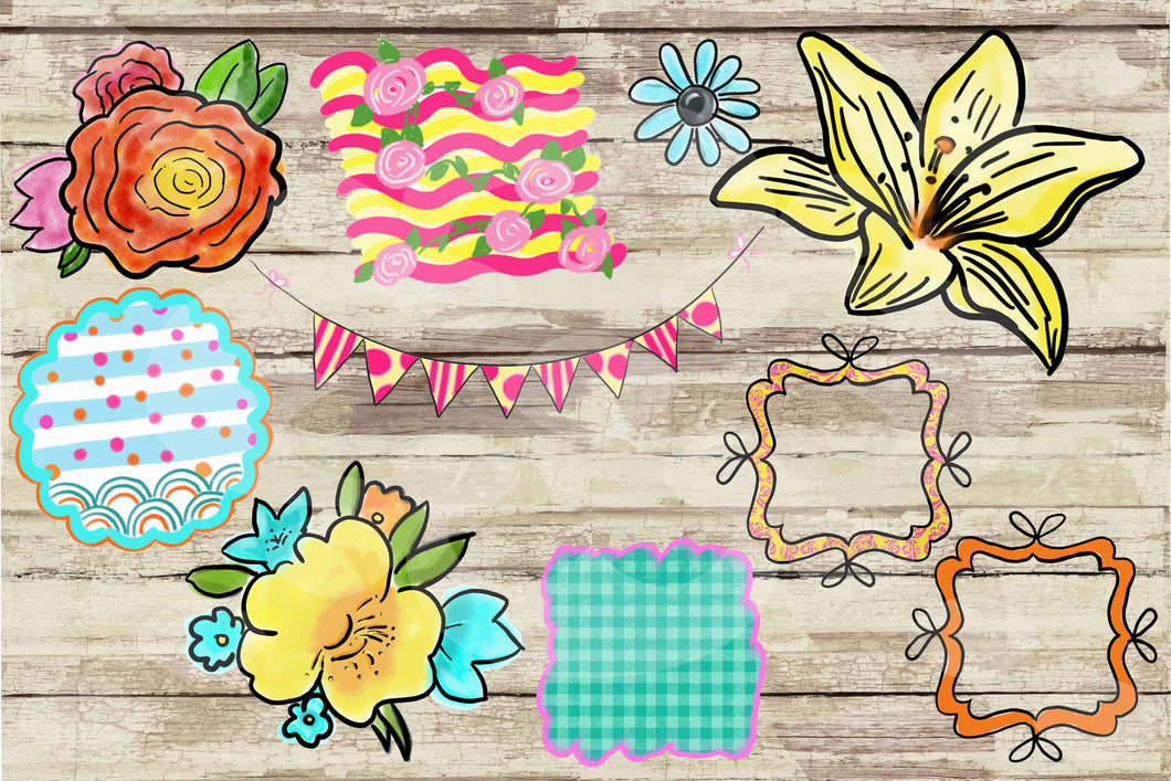 Watercolor and Ink Flowers Hand Drawn Doodle Digital Design File Clip Art Set